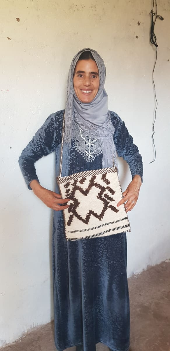 Woven Wool Bag Wool  and Thread Colored Morocco