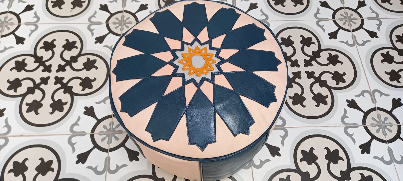 Pouf leather Colored Morocco