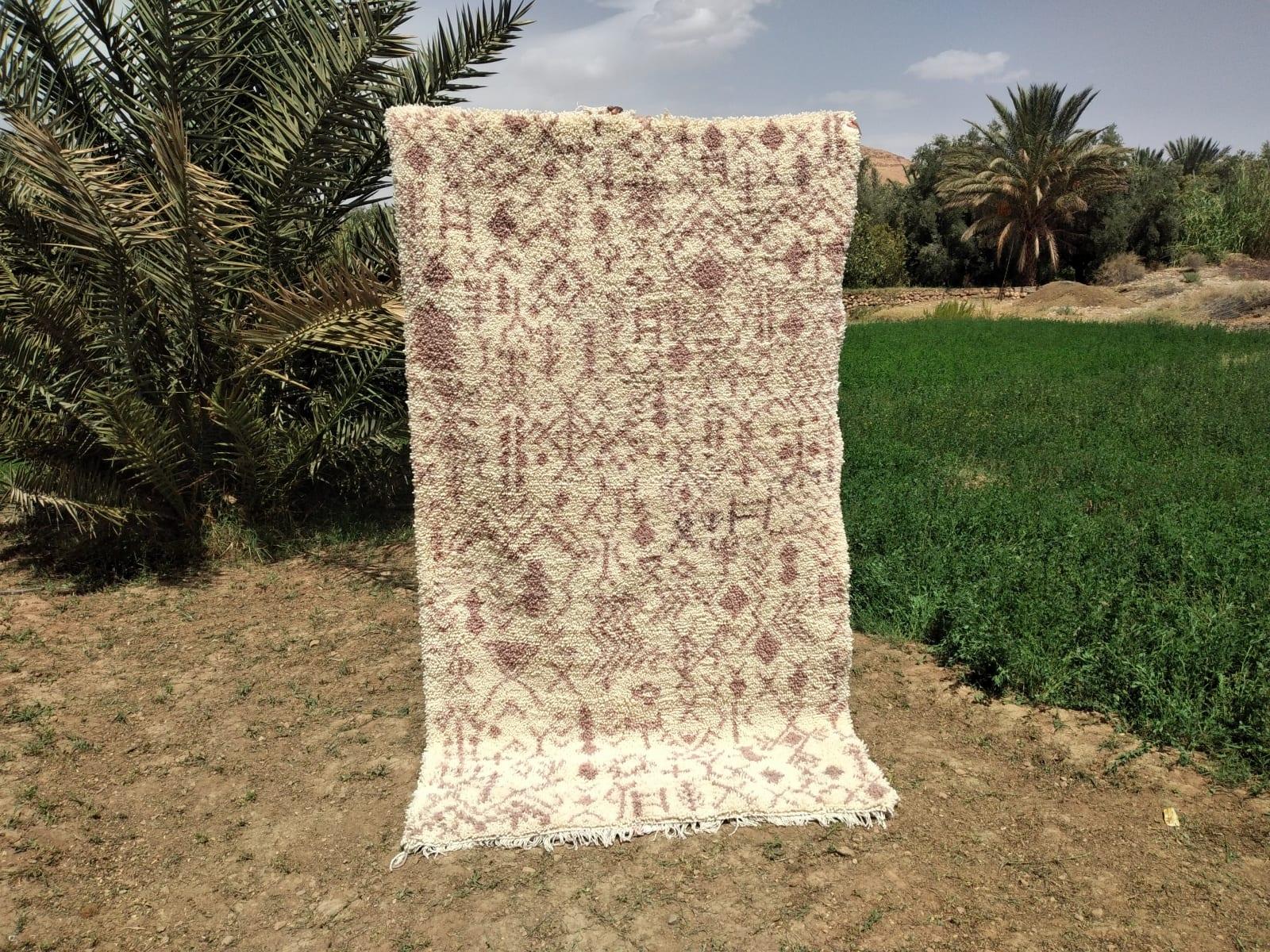 Pile Knot Rug Cotton Warp Pink, White Morocco