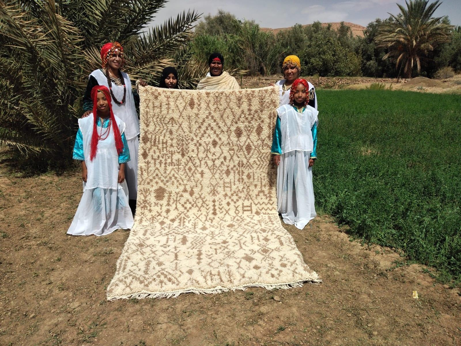 Pile Knot Rug Cotton Warp Brown, White Morocco