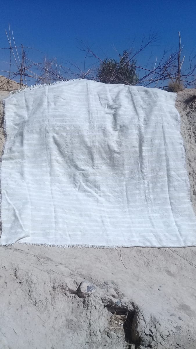 Pillow Wool and Cotton Warp White Morocco