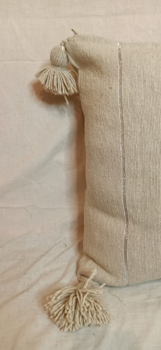 pillow Cotton and weft thread  White Morocco