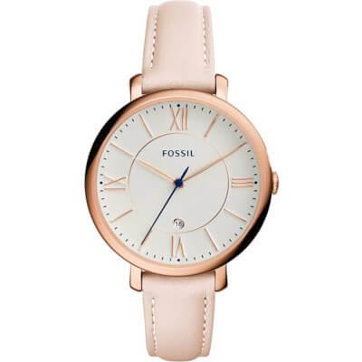 montre pour femme avec bracelet en cuir rose Fossil