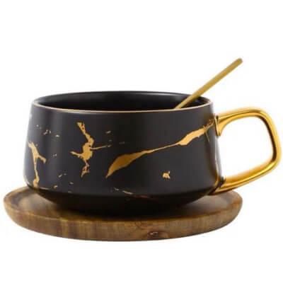 Tasse de thé en porcelaine au motif marbré