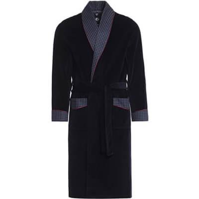Robe de chambre en velours bleu de Vasco