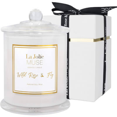 Bougie parfumée à la rose sauvage et aux figues de Jolie Muse