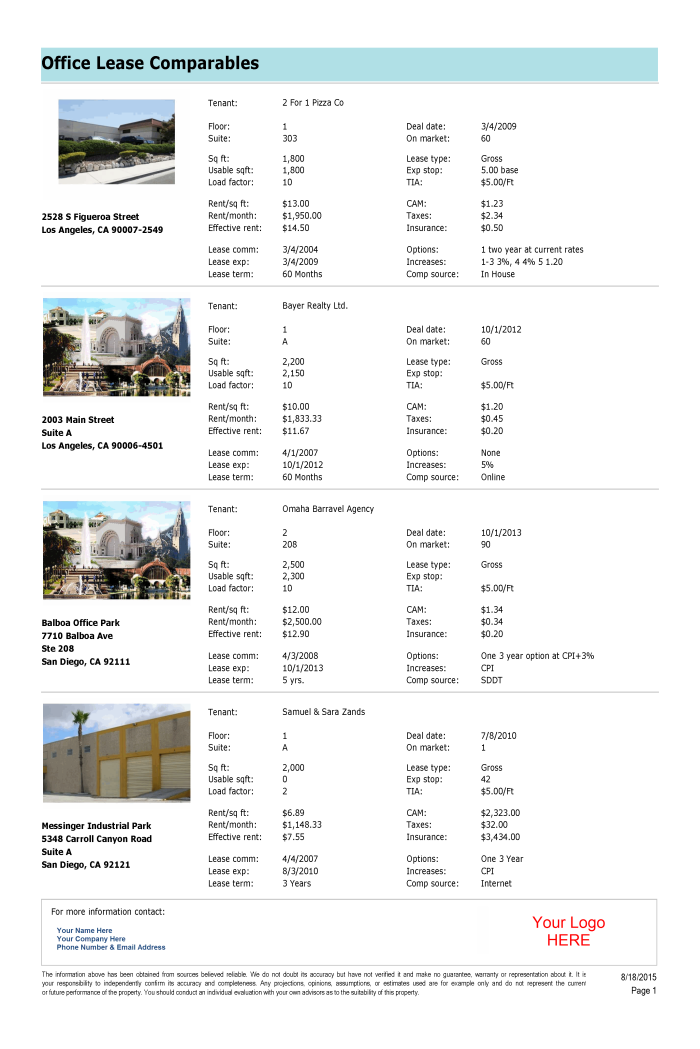 Office lease comparables x3ecls