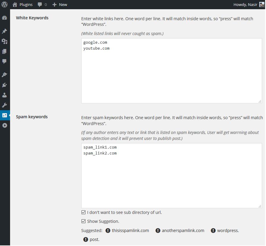 WordPress Post Spam Filter