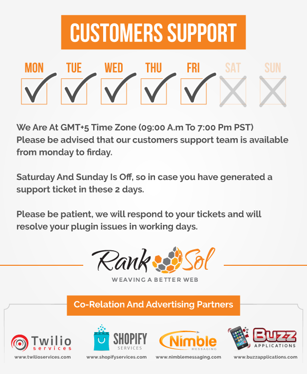 Ranksol  We highly appreciate customers feedback e therefore our customer Suporte team é Live e Active 24/7