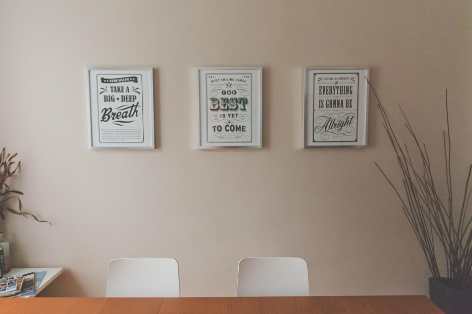 Motivational Posters on the back of a white wall