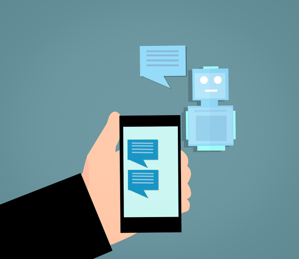 blue robot speaking as text appears on a phone