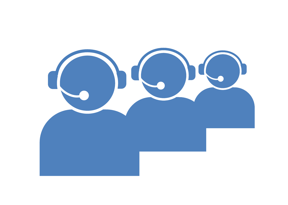 Blue vector of three people on headsets