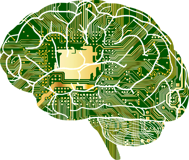 A graphic of a brain in the style of a computer board.