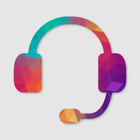 Multi-colour graphic of a headset