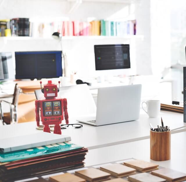 robot on a desk.