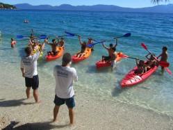 Group canoeing in Croatia