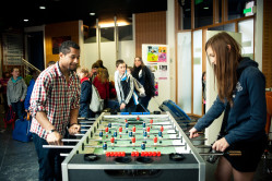 Hostel guests playing games