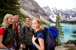 Group of people hiking in Banff National Park Canada