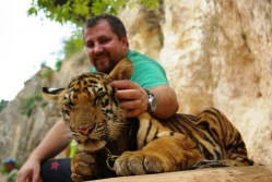 with tiger in Thailand