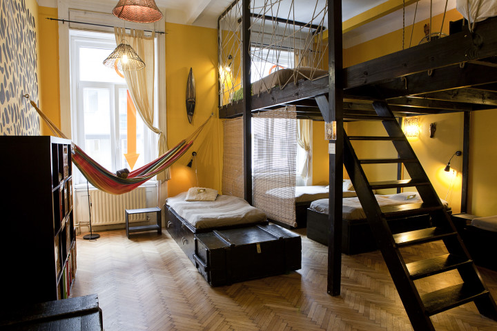 A tropical hostel with hammock