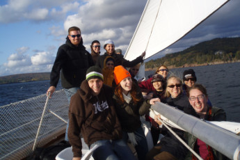 HI - Cape Breton : Hostel guests enjoying ride on boat in lake
