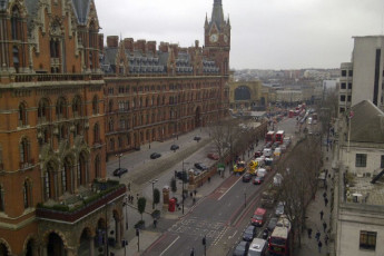 YHA London St Pancras : A view of St. Pancras train station outside  of YHA St Pancras hostel