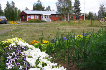 Raudanjoki - Hostel Visatupa : Outside the Hostel Visatupa with a view of the garden
