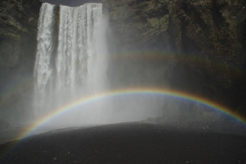 Skógar : Rainbow over Skogafoss waterfall