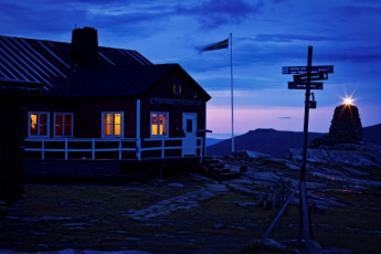 Blåhammaren Mountain Station : Jamtland Blahammaren front night view
