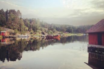 Stockholm-Gällnö : Stockholm Gallno lake and boat