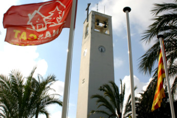 Poble Nou Del Delta - L'Encanyissada : Poble Nou Del Delta LEncanyissada church tower flag