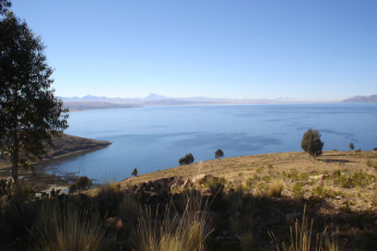 Inca Pacha' Isla del Sol : Overlooking a lake outside Inca Pacha' Island of the Sun in Bolivia