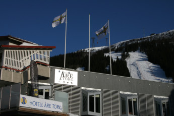 Åre Torg : Exterior of Are Torg hostel in Sweden