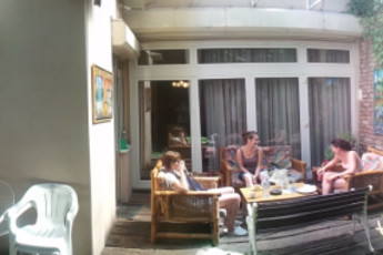 Belgrade - Sun Hostel Belgrade : Group on terrace at the Belgrade - Sun Hostel Belgrade in Serbia