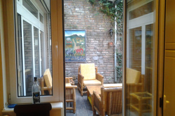 Belgrade - Sun Hostel Belgrade : View to terrace from inside the Belgrade - Sun Hostel Belgrade in Serbia