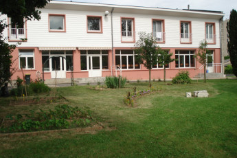 Bourges : View of exterior gardens and Bourges Hostel in France