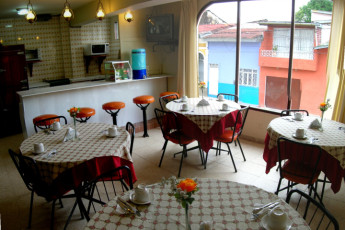 Iquitos - Ambassador : dining room and restaurant in the Iquitos - Ambassador hostel in Peru