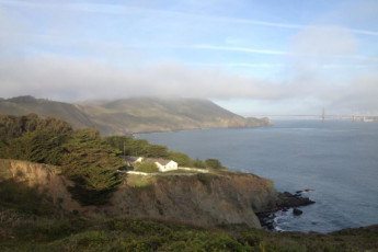 HI - Marin Headlands : Wider landscape view of Golden Gate Bridge near HI - Sausalito - Marin Headlands in USA