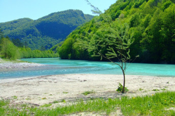 Youth Hostel Paradiso : Beach near the Tolmin - Youth Hostel Paradiso in Slovenia