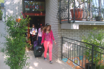 Niš - Hostel Marvel : Guests leaving the Nis - Hostel Marvel in Serbia