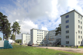 Prora mit Zeltplatz : Front Exterior View of Prora - Youth Hostel Prora, Germany