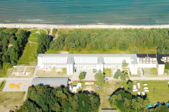 Prora mit Zeltplatz : Aerial View of Prora - Youth Hostel Prora, Germany