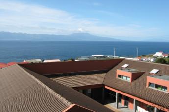 Azores - S.Jorge Island - Calheta : Aerial View of Courtyard and Landscape Surrounding Azores - S.Jorge Island - Calheta Hostel, Portugal