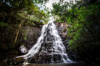 Away with the Fairies Backpackers : Waterfall at Away with the Fairies Backpackers Hostel, South Africa