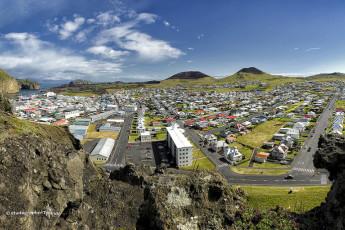 Vestmannaeyjar : Vista aérea del paisaje en Vestmannaeyjar albergue, Islandia