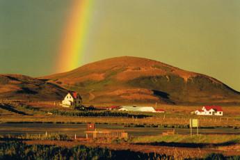Kópasker : Rainbow in Landscape Surrounding Kopasker Hostel, Iceland