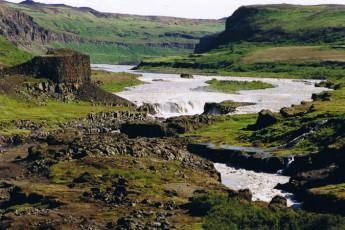 Kópasker : Waterfall in Landscape Surrounding Kopasker Hostel, Iceland
