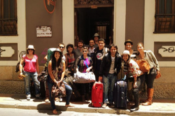 Bogota - Chocolate Hostel : Group outside the Bogota - Chocolate Hostel in Columbia