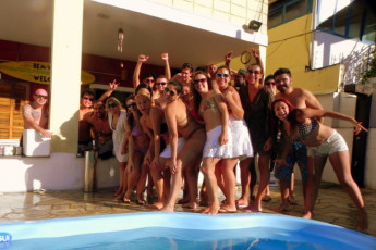 Ubatuba - Tribo Hostel : Guests partying at the Ubatuba - Tribo Hostel in Brazil