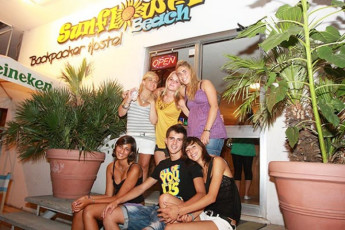 Sunflower Beach Backpacker Hostel : Group of People Gathering Outside the Front Entrance of Sunflower Beach Backpacker Hostel, Italy